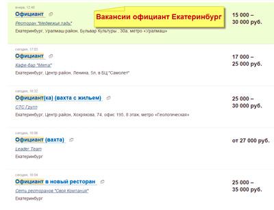 зарплата-официанта-Екатеринбург