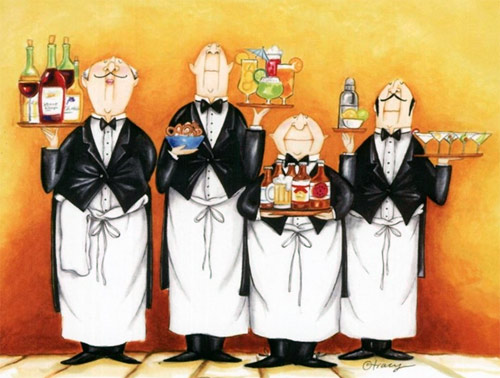официанты ресторана гифка